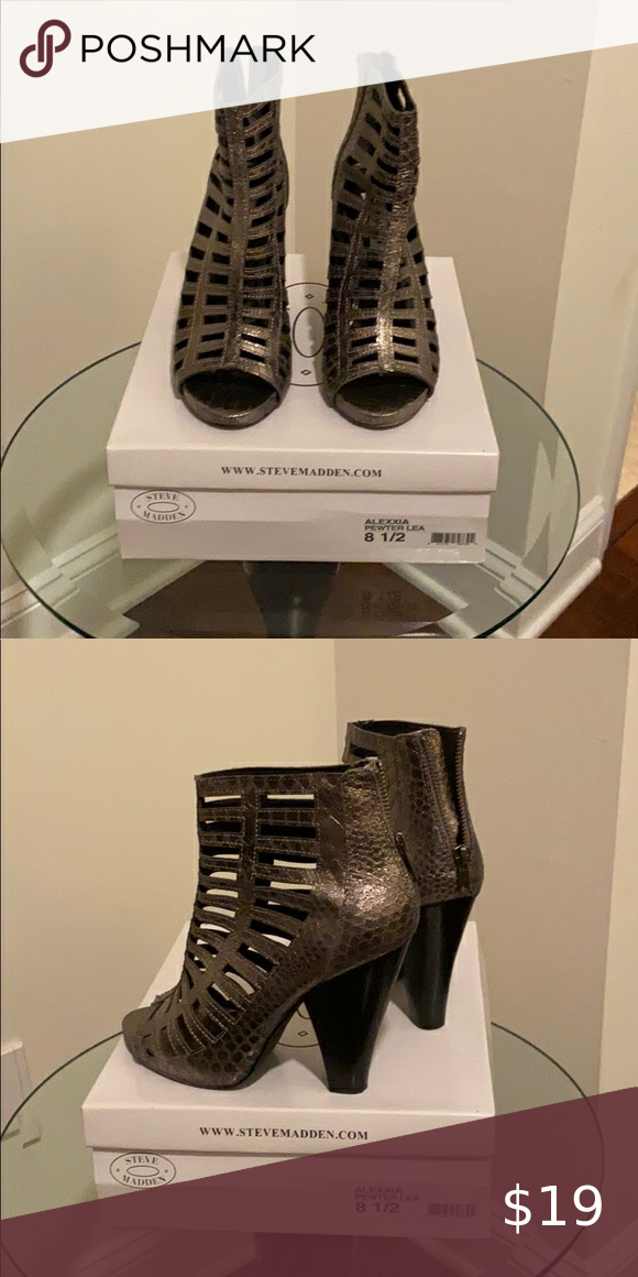 Steve Madden pewter ankle boots