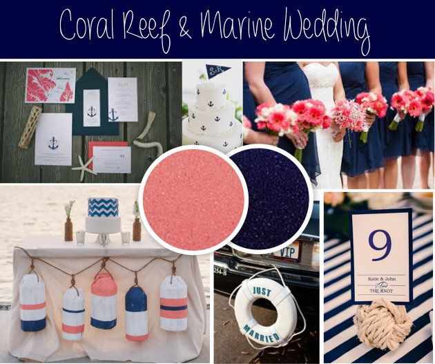 Coral Reef And Marine Themed Wedding Coral And Navy Make For A