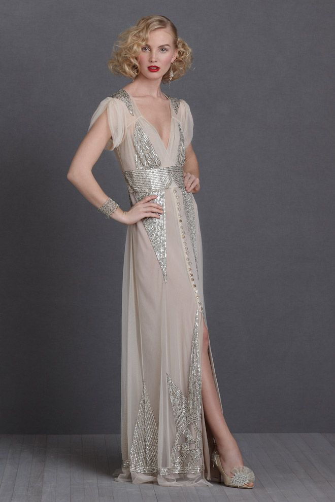 For flapper-girl chic, think shimmering gowns adorned with crystals ...