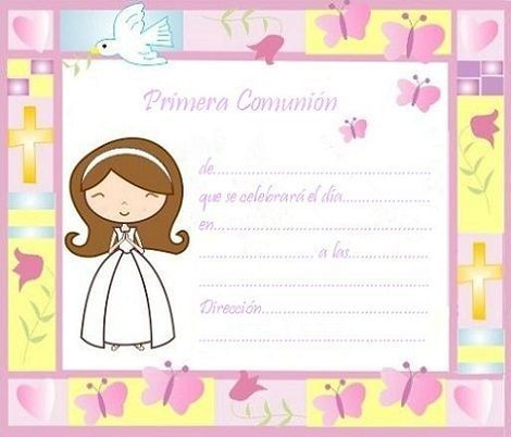Invitaciones comunion imprimir gratis nina colores a pinterest - Etiquetas comunion para imprimir en casa gratis ...
