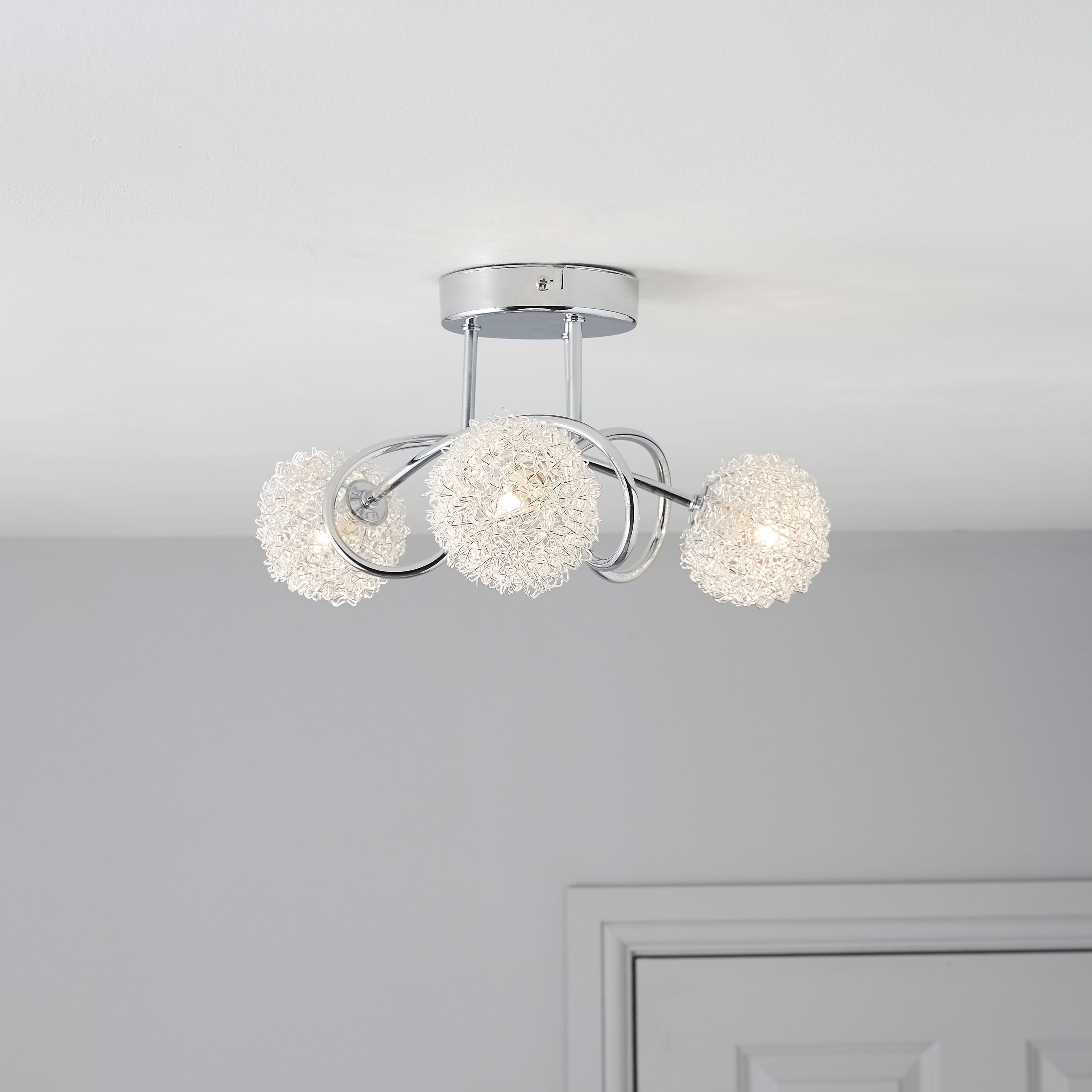 Bathroom ceiling lights b q - Pallas Chrome Effect 3 Lamp Ceiling Light
