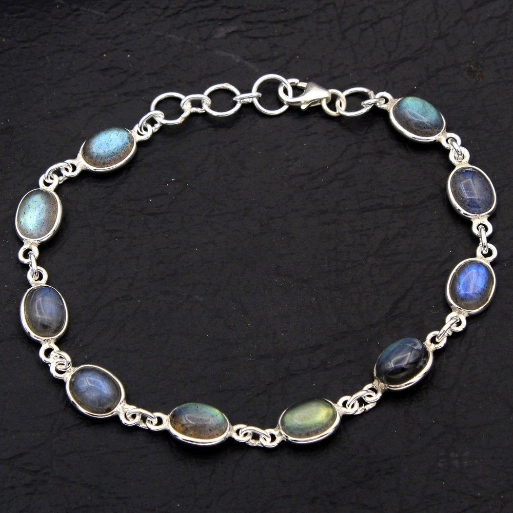 "Natural Rainbow Moonstone Bracelet Sterling Silver Jewelry 6.5/"" /& 7.5/"" Mothers D"