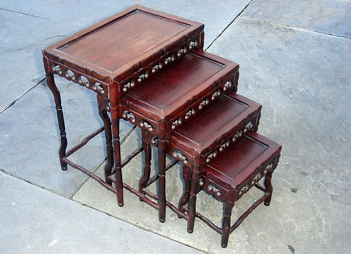 ANTIQUE RARE BEAUTIFUL MINIATURE CHINESE ASIAN STACKING TABLES | EBay