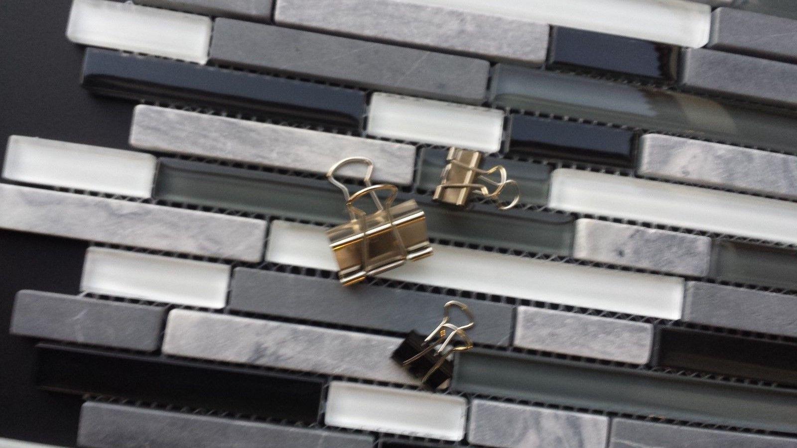 Best Backsplash Linear Black Gray And White Glass Tile Kitchen 400 x 300