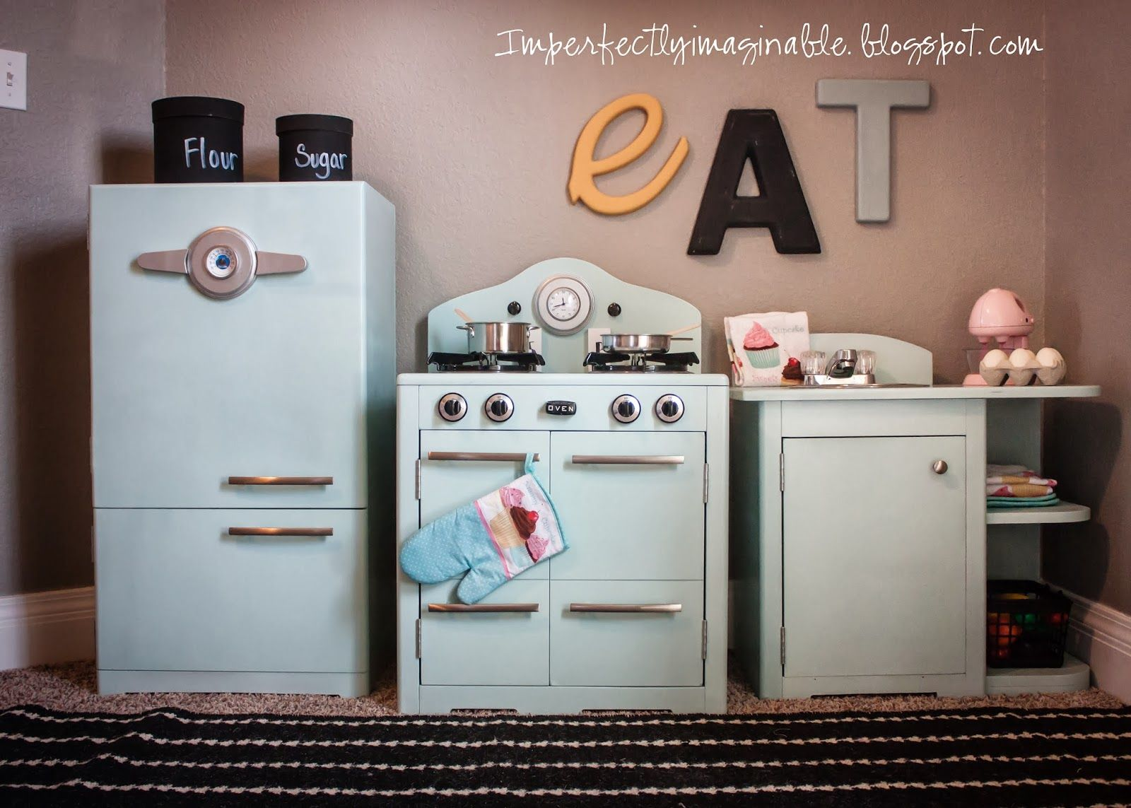 Imperfectly imaginable pottery barn inspired retro kids kitchen