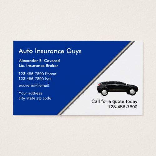 Auto Insurance Business Cards Zazzle Com Business Insurance