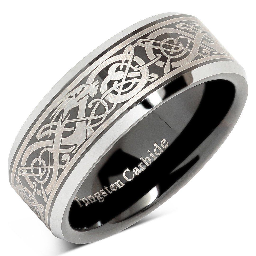 Tungsten Ring For Men Black Wedding Band Celtic Dragon