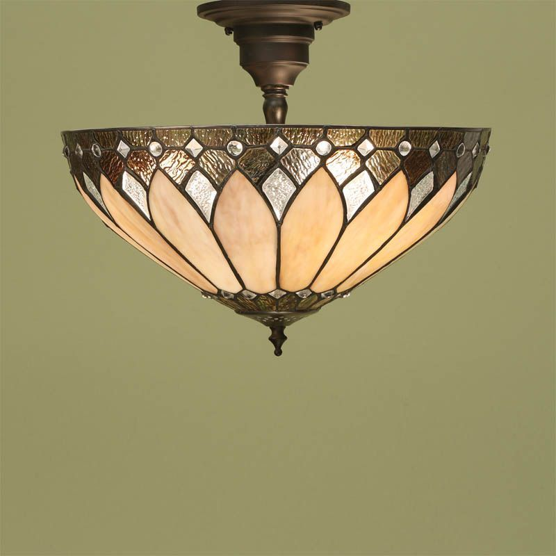 Inspired By The Art Deco Period Brooklyn Tiffany Semi Flush Ceiling Light Features Bevelled And