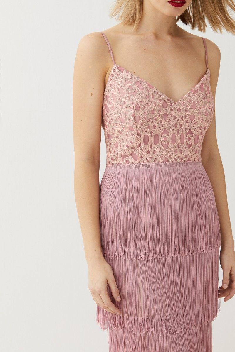 Vestido lencero rosa brocado flecos Clea | Vestidos cortos, Vestidos ...