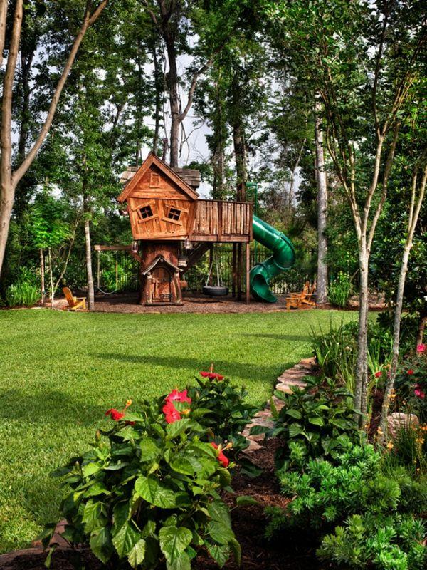holz-baumhaus-bauen-für-kinder- mitten im wald - baumhaus bauen, Terrassen ideen