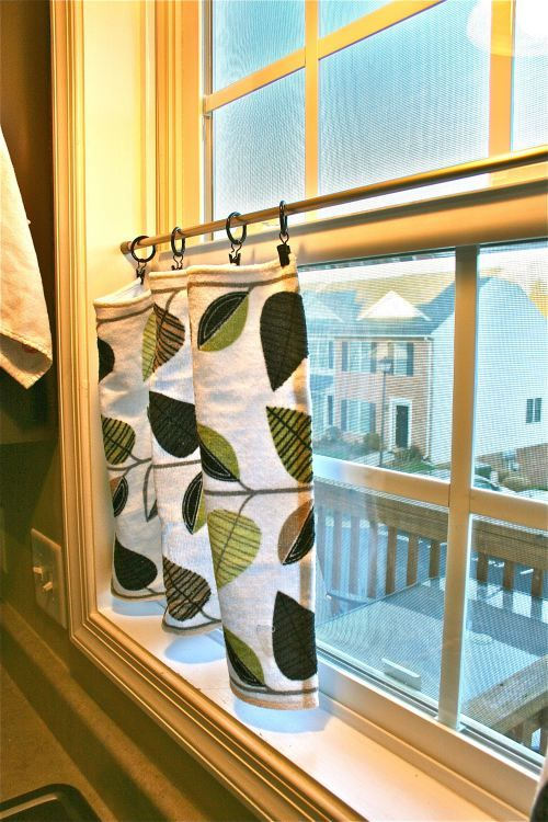 tension rod shower curtain clips towels or small fabric pieces lovely kitchen window treatments seems like for a small kitchen window the curtains hung at