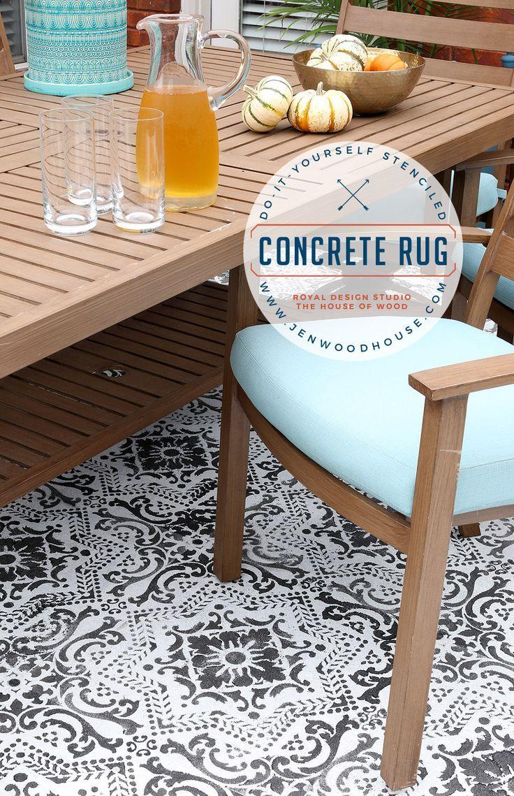 Diy Stenciled Concrete Rug Stencil Concrete Patio Rugs 400 x 300