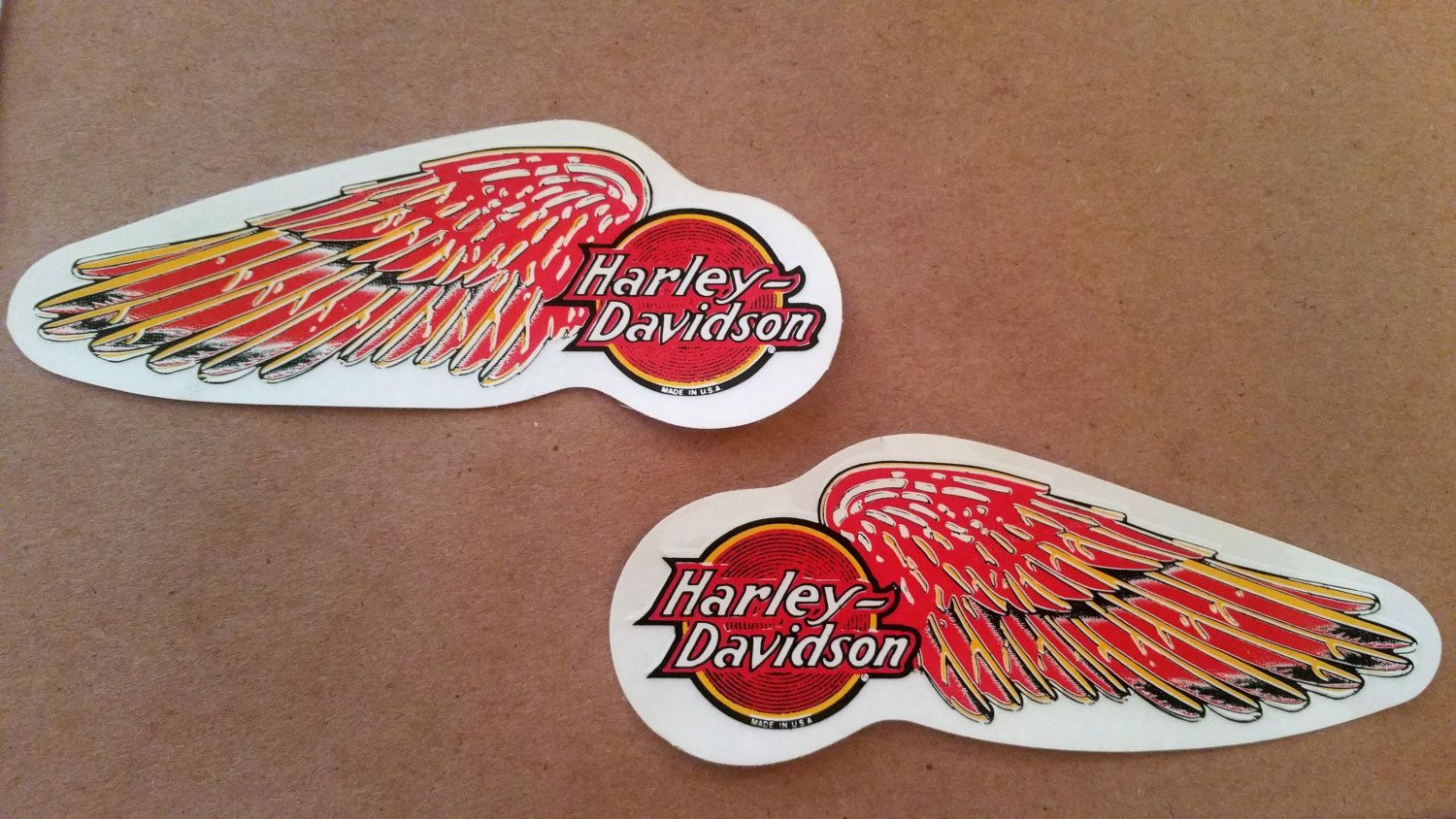 Set Of Rare Small Vintage HARLEY DAVIDSON Red Wings Tank Decal - Stickers for motorcycles harley davidsonsmotorcycle decals and stickers