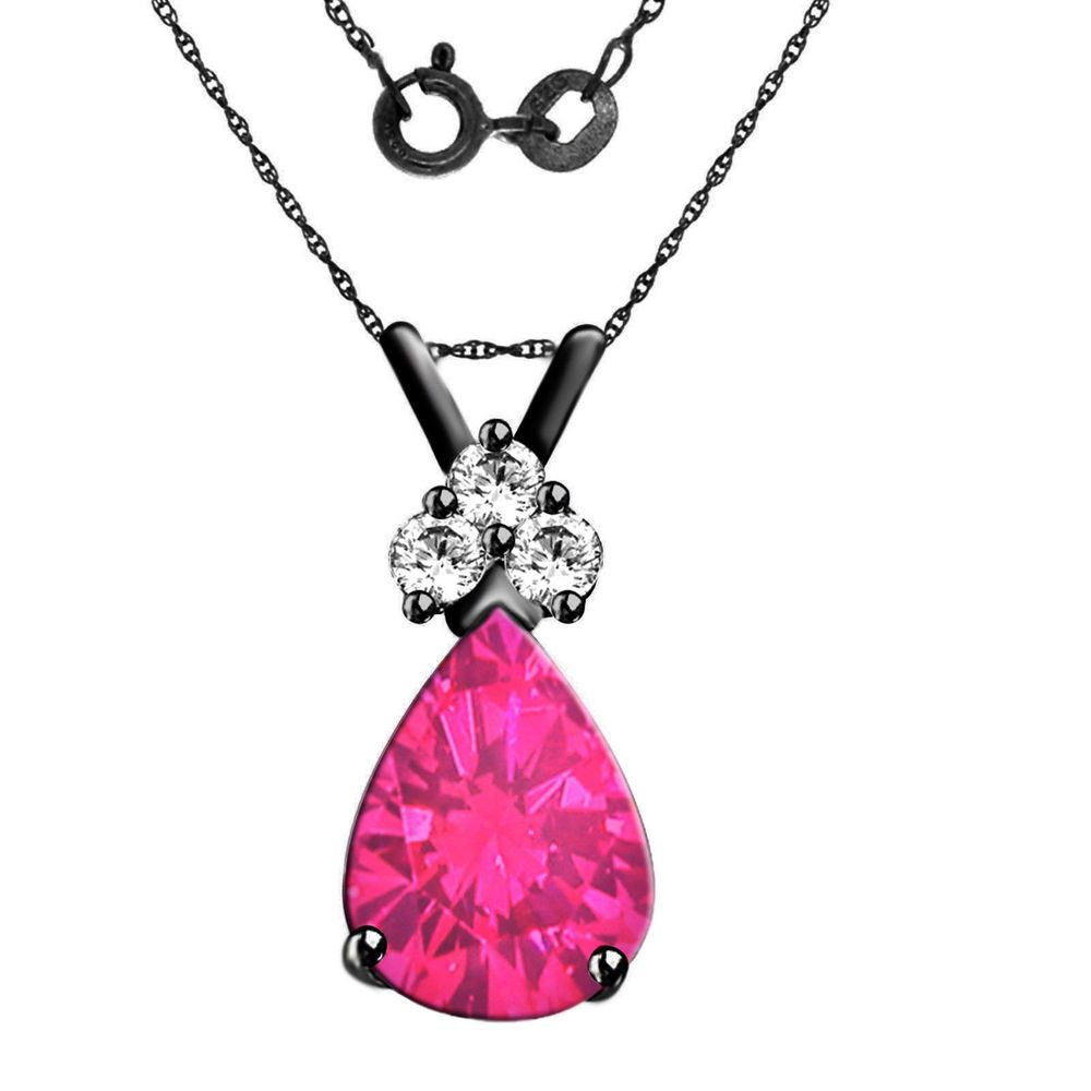 ct pear shape pink sapphire sterling silver pendant with