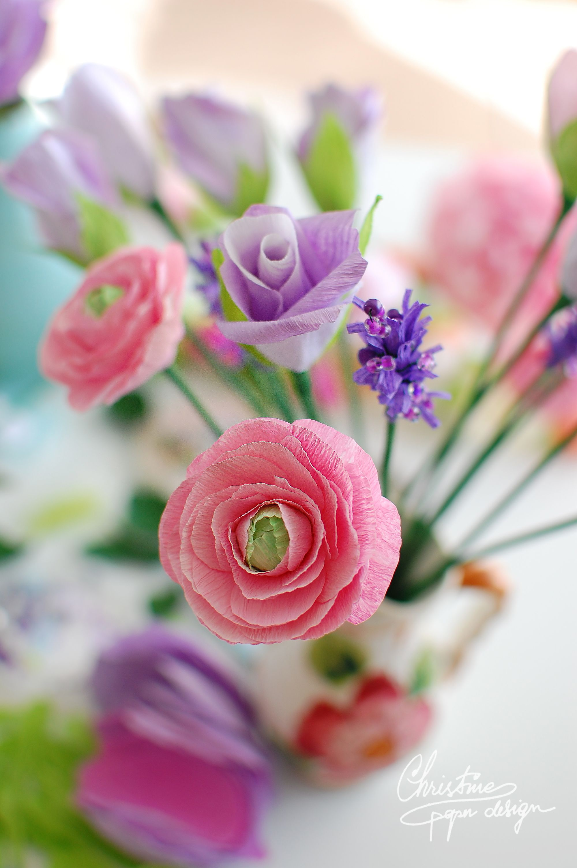 Diy Paper Flowers Pink Paper Ranunculus Crepe Paper Flowers