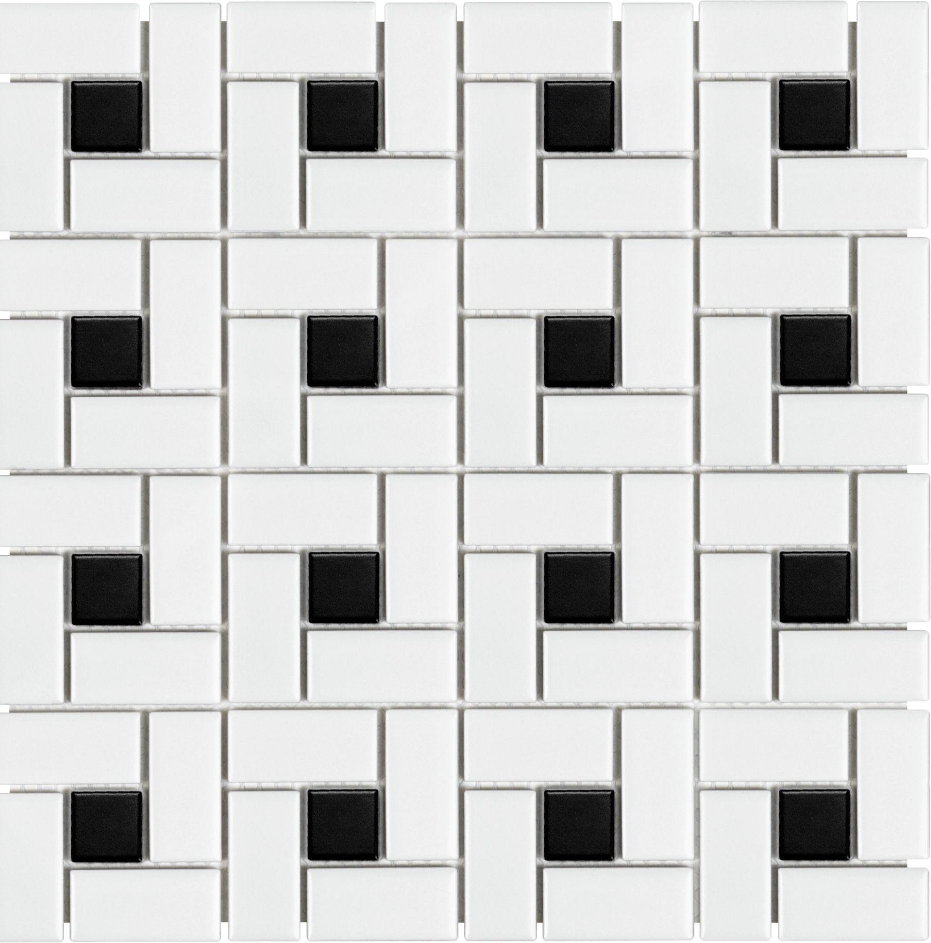 Cathedral Soho White Matte With Black Dot Pinwheel Porcelain Mosaic Porcelain Mosaic Tile Mosaic Flooring Porcelain Mosaic