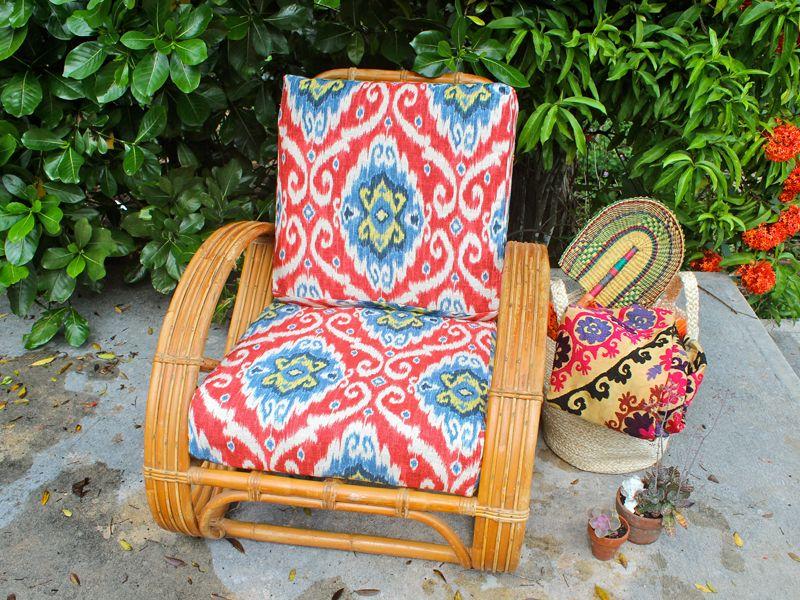 Koa Rattan Cushion Covers Ikat Print Virginia Paresa Hawaii 80 200