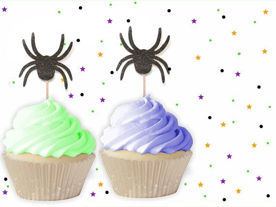 12 Black Spider Cupcake Toppers - Glitter Cupcake Topper, Halloween - halloween decorations spider