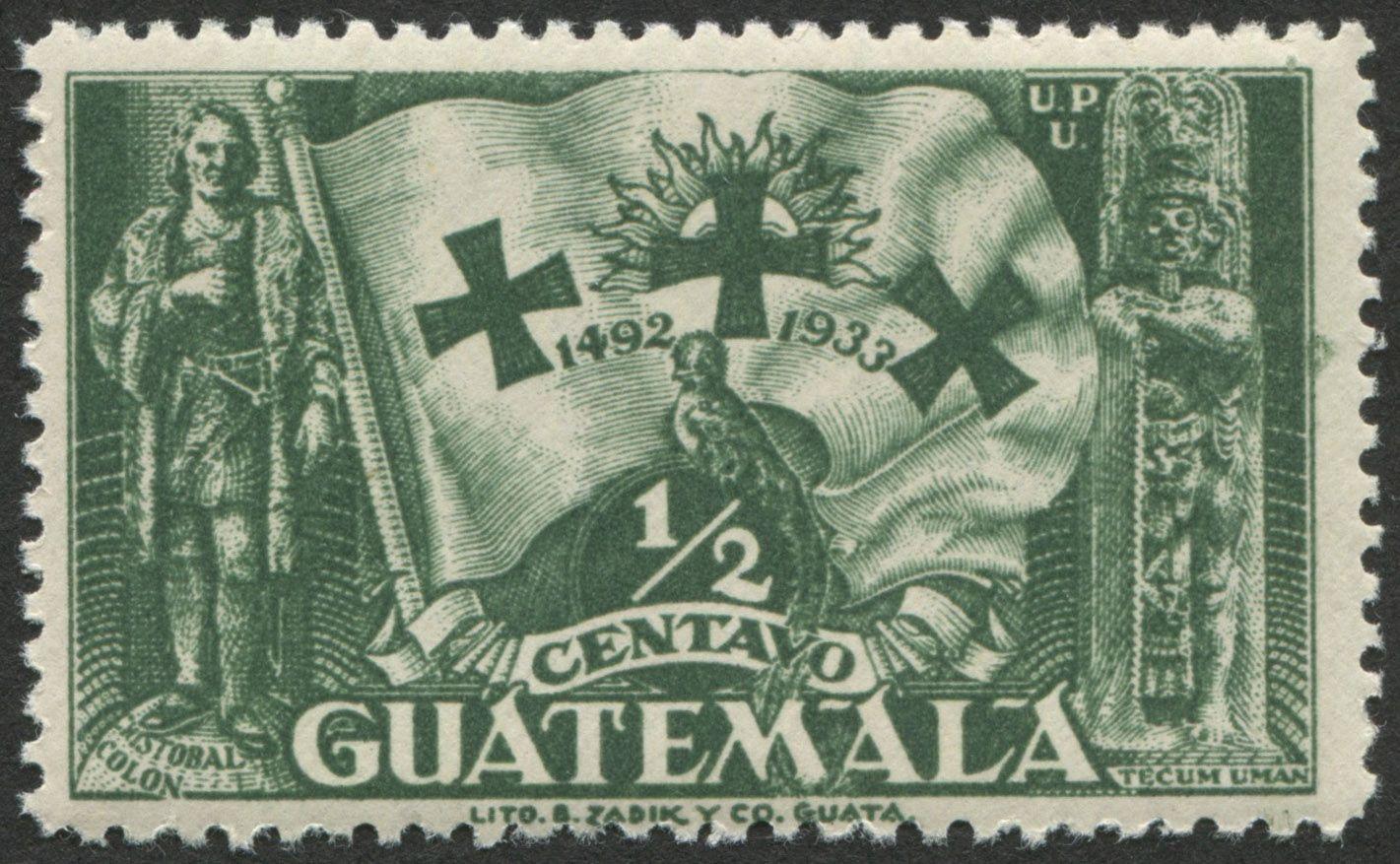 Guatemala Scott 259 03 Aug 1933 Flag Of The Race Christopher Columbus And Tecum Uman Monument From Set Of 5 Stamps Christopher Columbus Stamp Philately