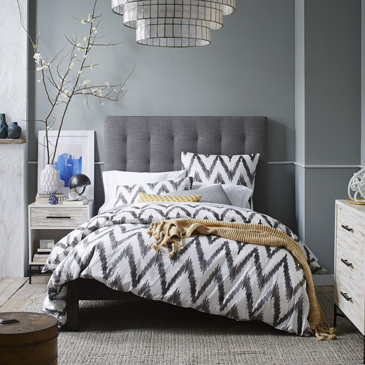 tall grid tufted headboard from west elm is it too high otherwise i adore it bedroom. Black Bedroom Furniture Sets. Home Design Ideas