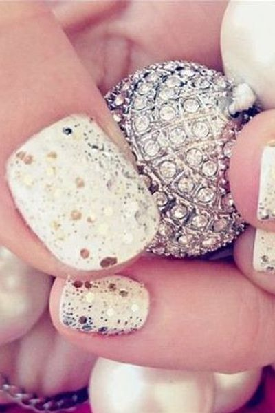 Create This Frosty Effect With White Nail Polish And Gold Sequins On Top