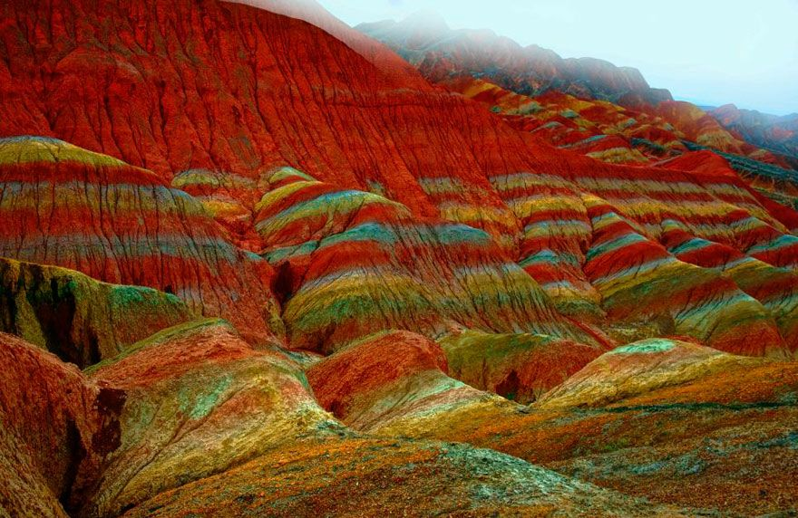 Incredibly Colorful Rock Formations in China Rock formations - land form