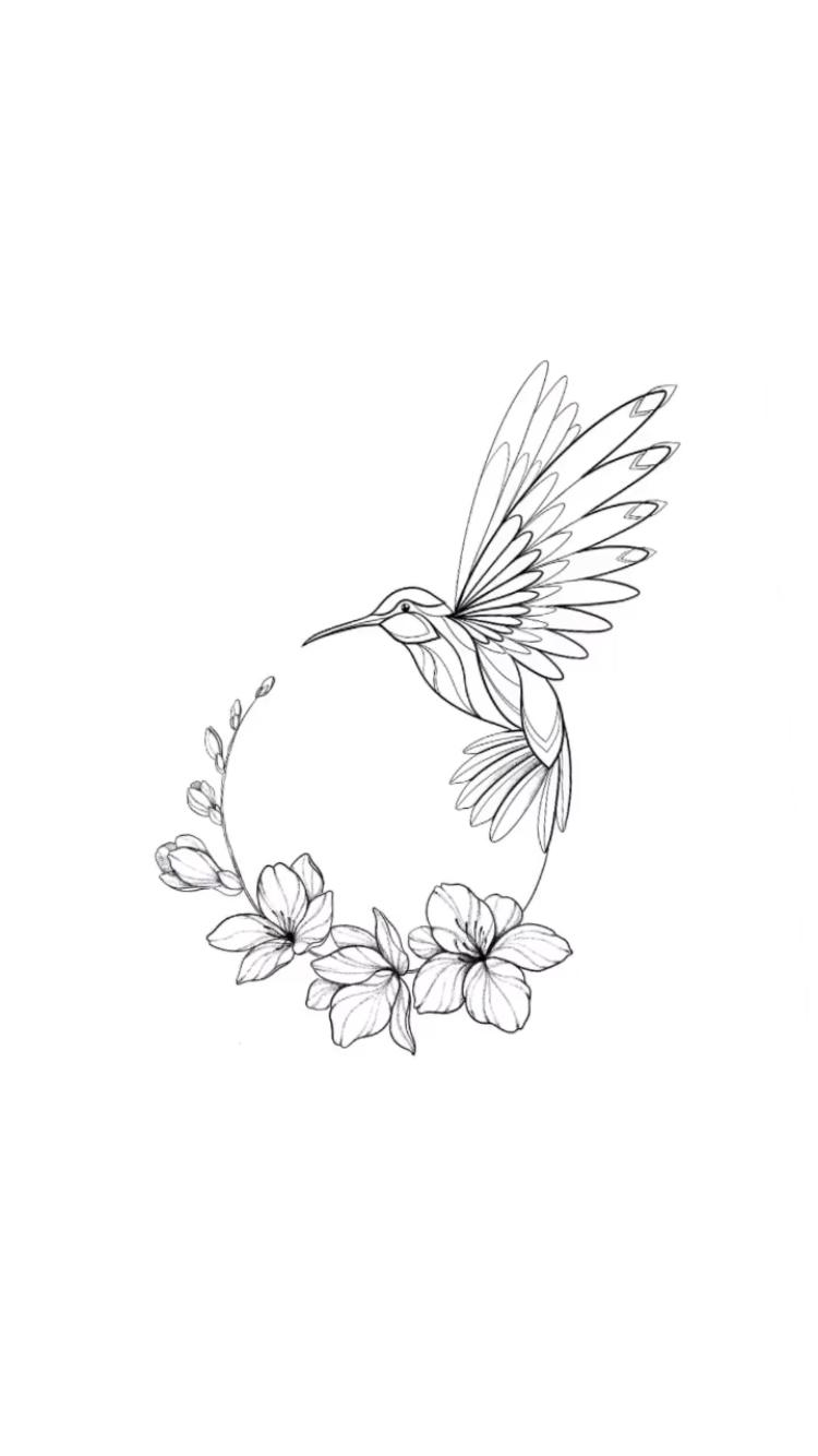 Photo of Kolibri-kreisförmiges Design –  #tätowieren #Kolibri #Vogel #kreisförmig #linear #einfach   –