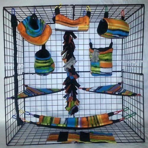 Cabana-Spice-15-PC-Sugar-Glider-Cage-set-Rat-double-layer-Fleece