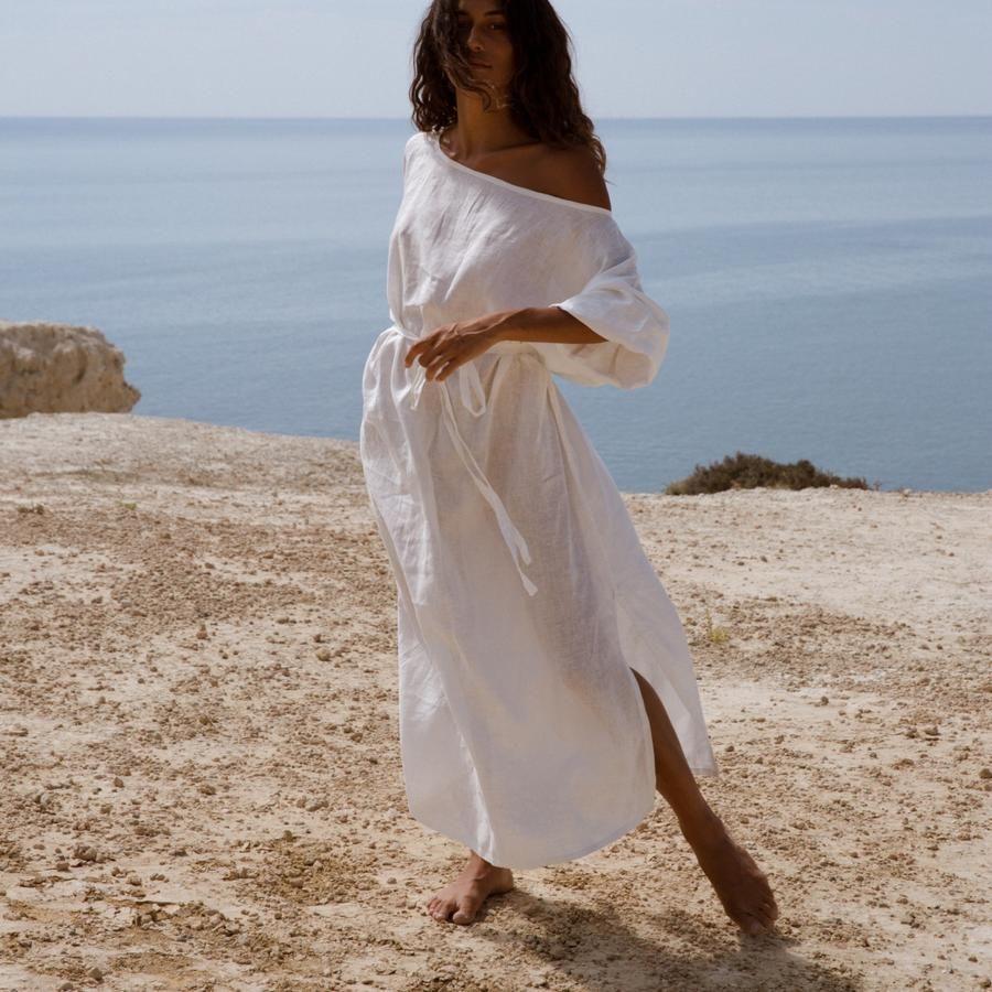 Ella Linen Dress White Linen Dress Summer Linen Dress White Linen Dresses [ 900 x 900 Pixel ]