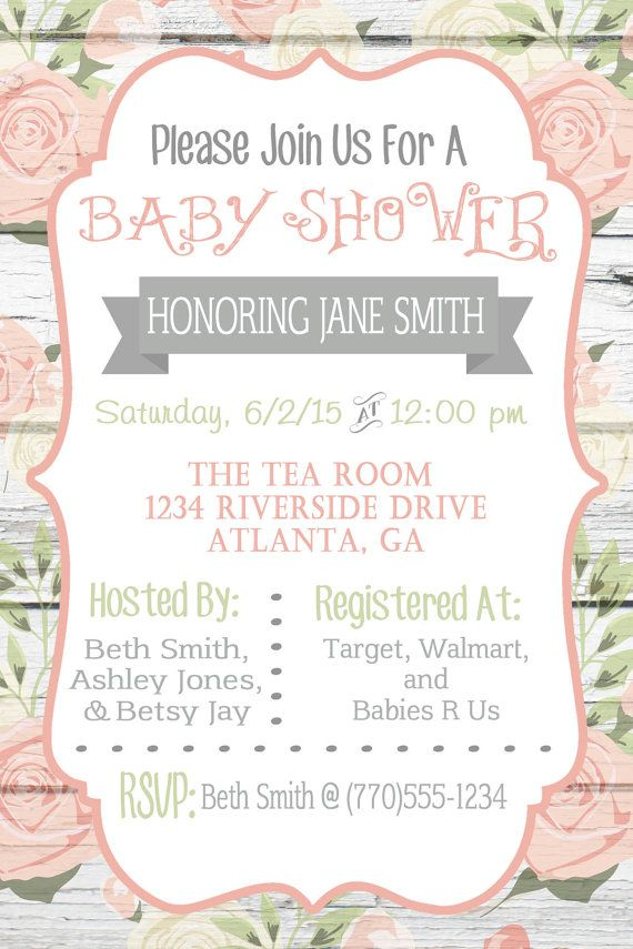 Floral Vintage Shabby Chic Baby Shower Invitation Pink Baby Girl