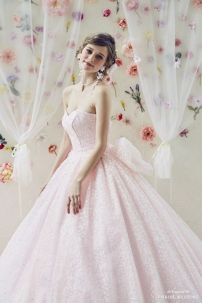 How sweet is this pastel pink princess-worthy gown from Kiyoko Hata ...