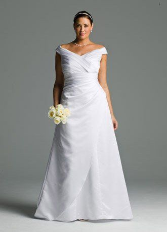 wedding dress plus size satin off-the-shoulder a-line with side