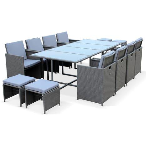 Salon de jardin Berceto Gris table en résine tressée 8 à 12 places ...