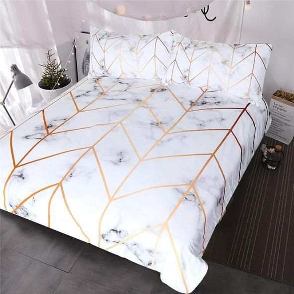 White And Rose Gold Marble Bedding Set Bedding Marble White Genel Marble Bed Set Bed Comforter Sets Marble Bedroom