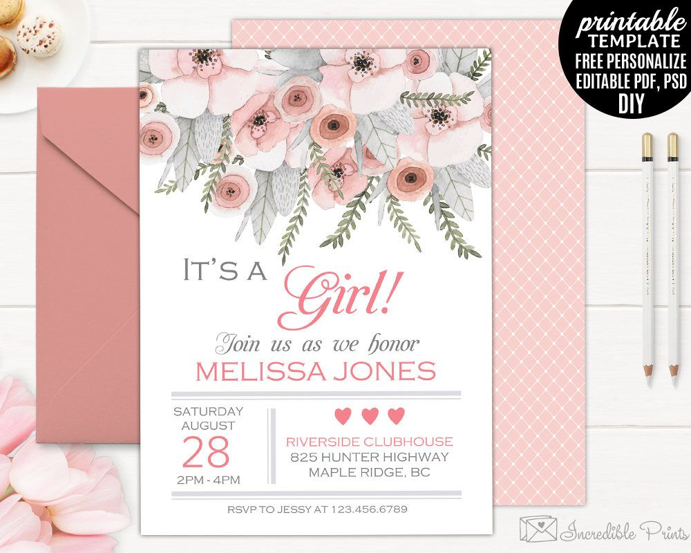 Baby Shower Invitation Template. Printable Girl Pink Watercolor Flowers Baby  Shower Invitation. Coral Flower Pink DIY PDF PSD Download  Free Downloadable Baby Shower Invitations Templates