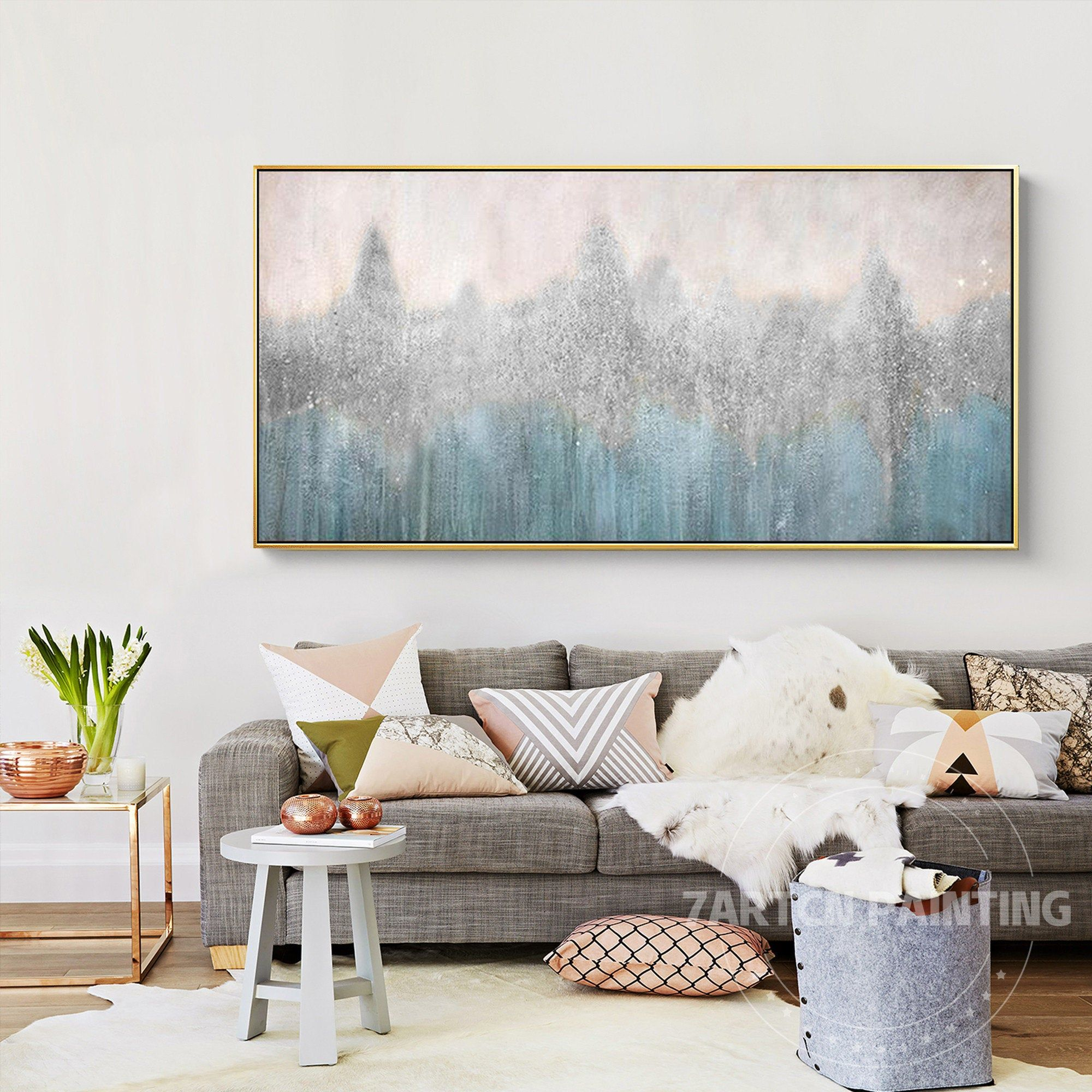 Framed Wall Art Modern Abstract Silver Blue Oil Painting On Canvas Gold Mountain Wall Pictures Hand Painted Grey Wall Decor Abstractos In 2021 Frames On Wall Grey Wall Decor Gray Painted Walls