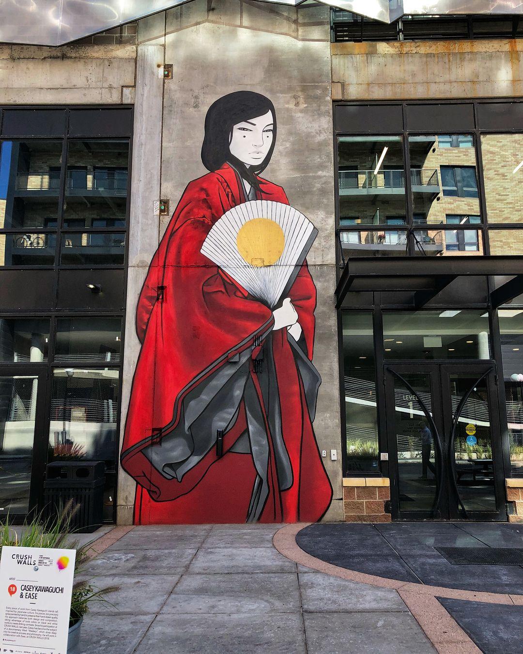 Mural Piece Kyojin By Japanese Artist Casey Kawaguchi In Denver