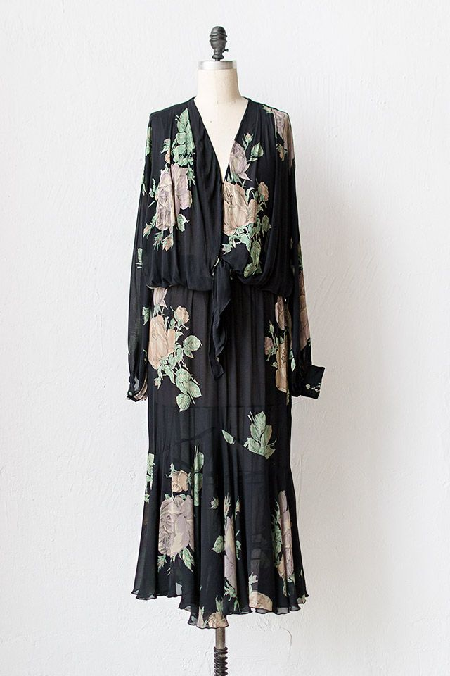vintage 1930s inspired 70s floral dress   The Gypsy Rose Dres