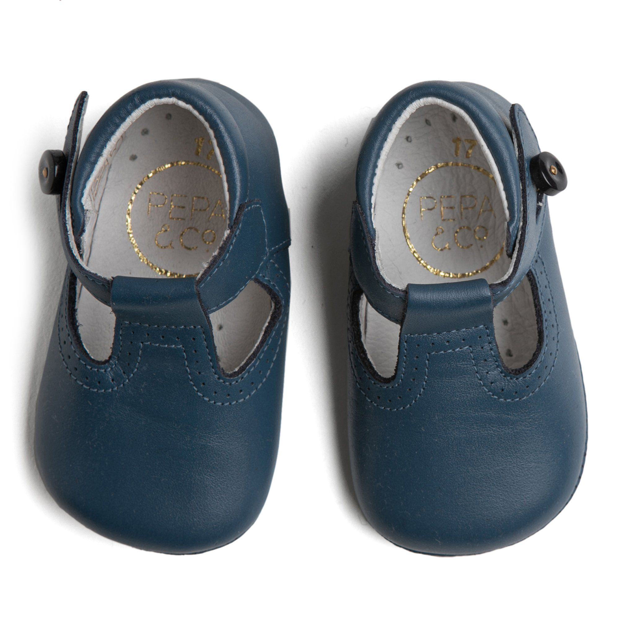Blue Leather T-Bar Pram Shoes in 2020
