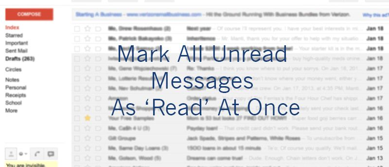 How to mark all unread emails as read in gmail make tech