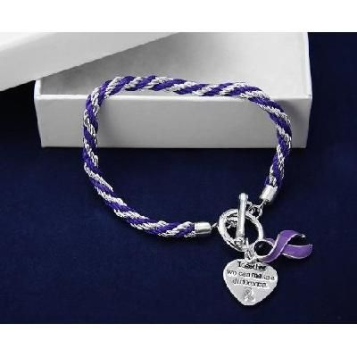 Lupus Fibromyalgia Cystic Fibrosis Purple Ribbon Awareness Braided Rope Toggle Bracelet