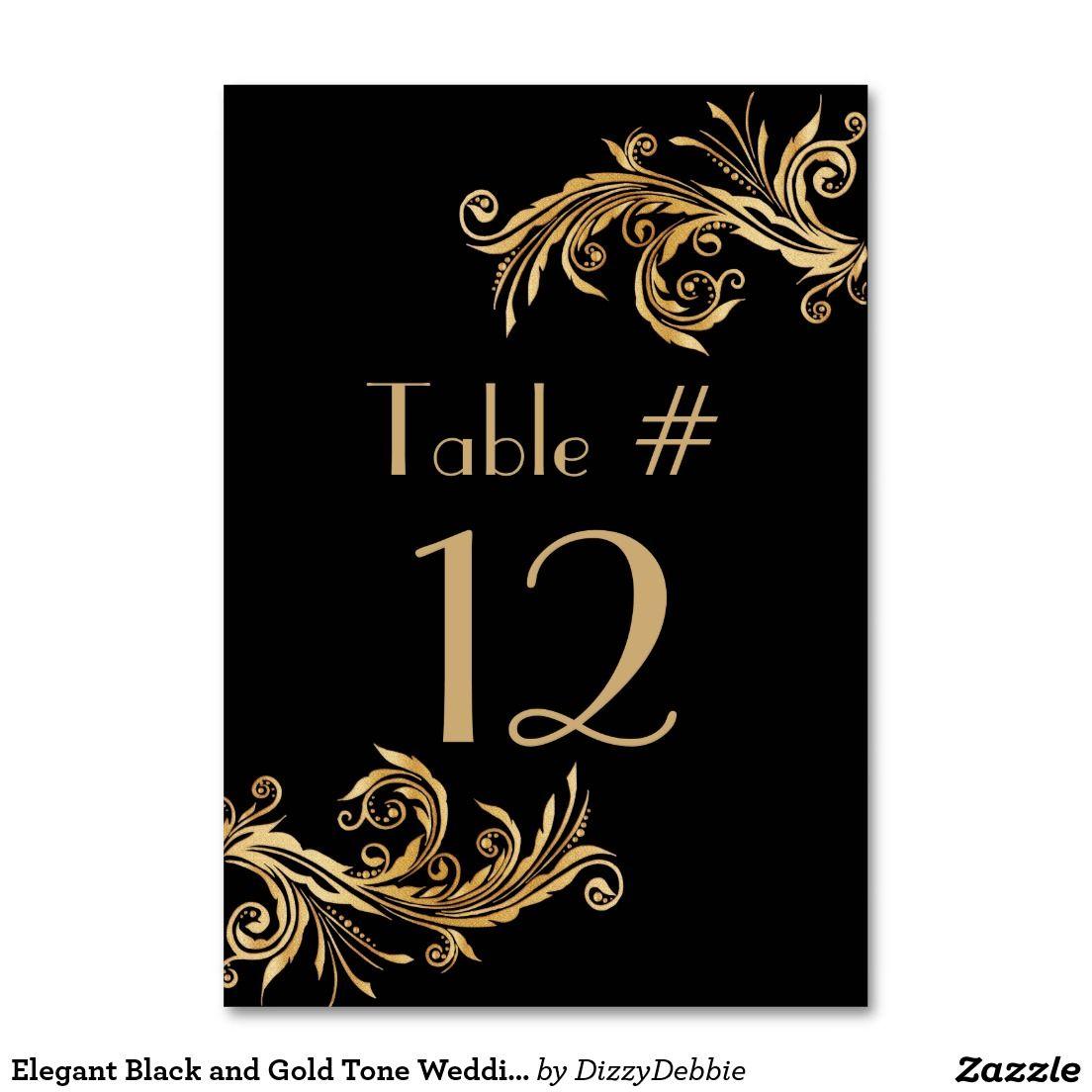 Elegant Black and Gold Tone Wedding Table Number | Wedding ...