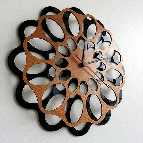 Wall Clock  Cherrywood and Acrylic by MabelDesignsAU on Etsy, $55.00