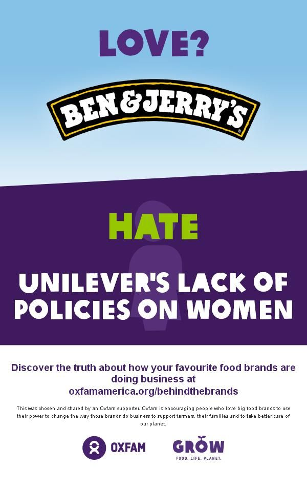 Love? Ben and Jerrys, hate @unilever's lack of policies on women