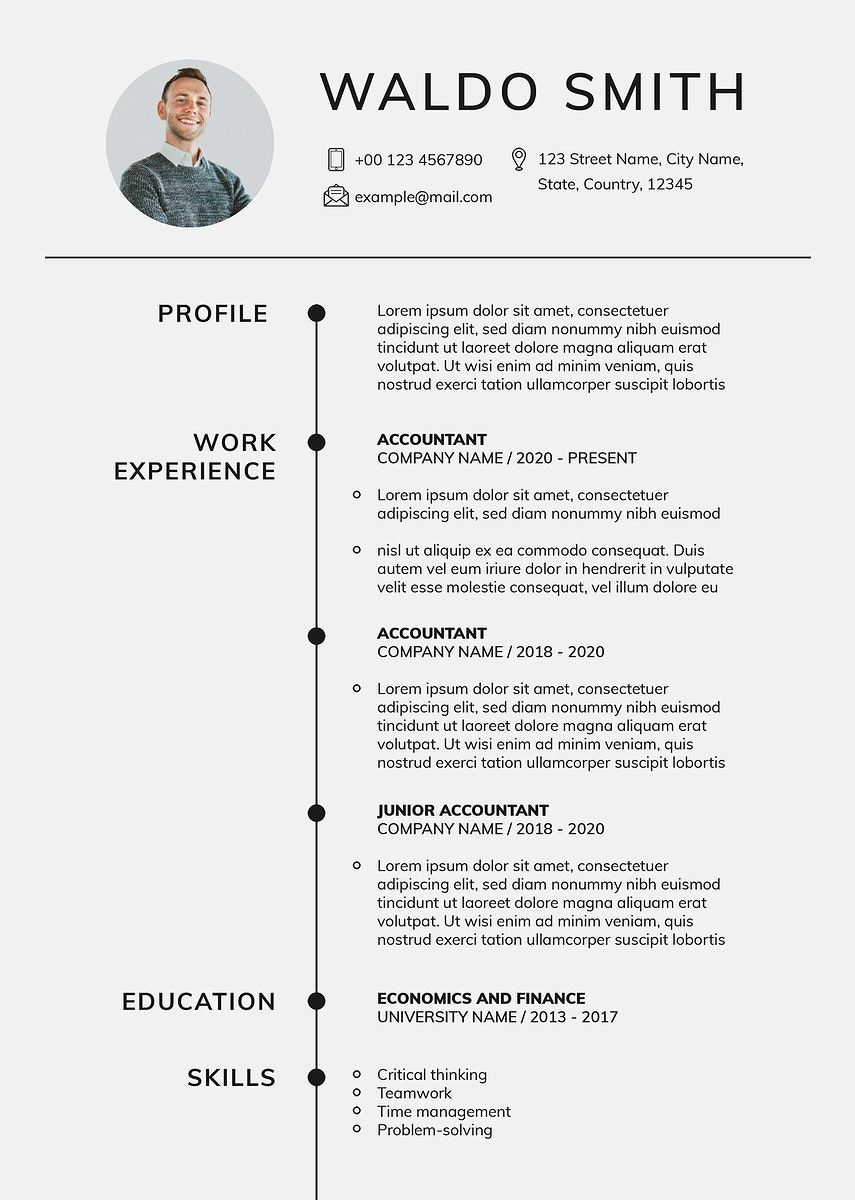 Stylish editable CV template downloadable psd resume for