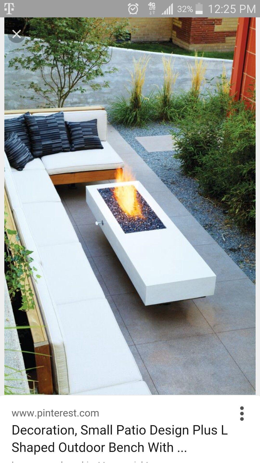 Sleek Modern Concrete Firepit Built Into Coffee Table Backyard Narrow Backyard Ideas Backyard Fire Modern outdoor fire pit ideas