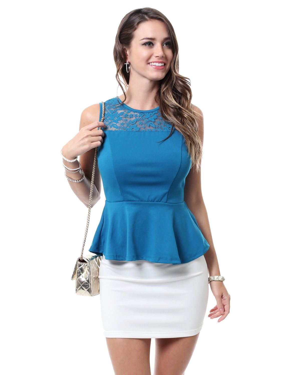 Elegant Sleeveless Peplum Top With Floral Lace Top #11foxy