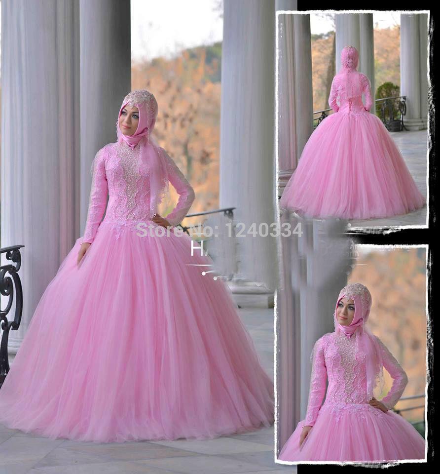 1403148 beaded long sleeve muslim hijab wedding dress | Stylish ...