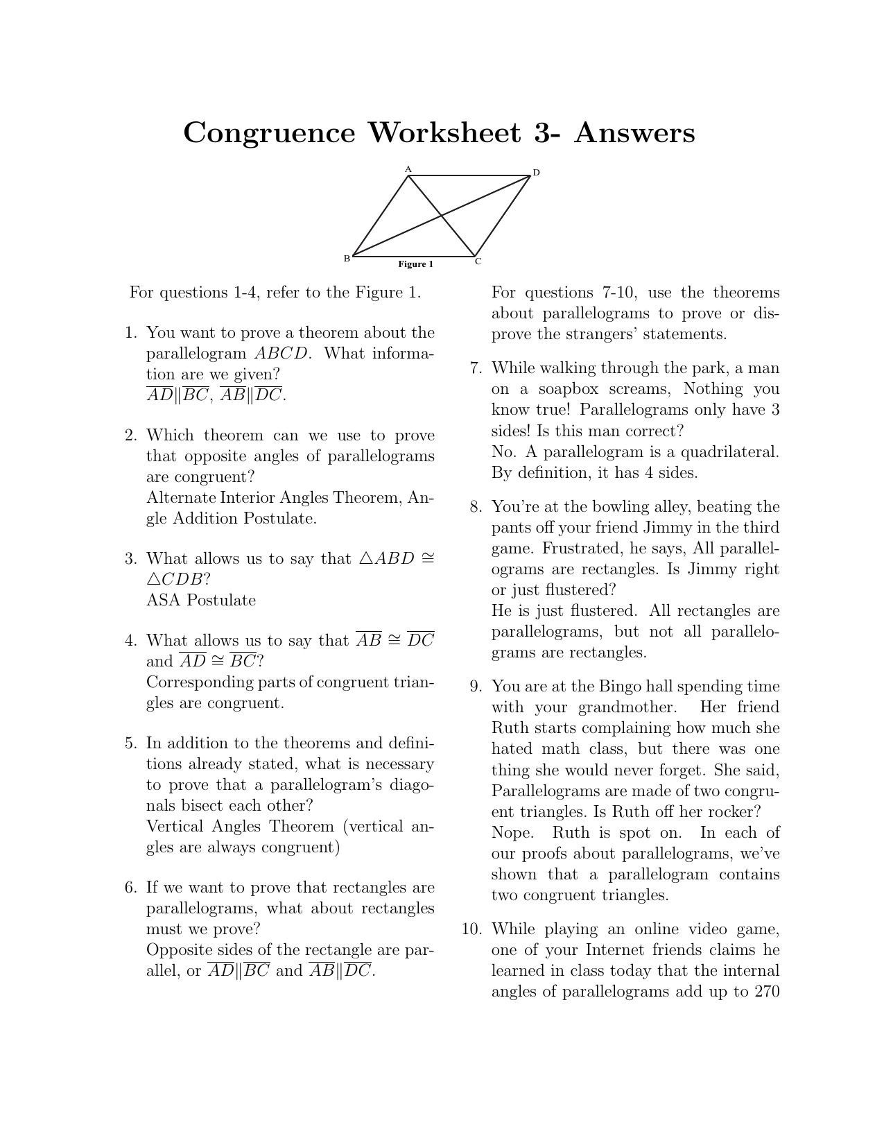 Parallelogram Proofs Worksheet With Answers Fresh Proving