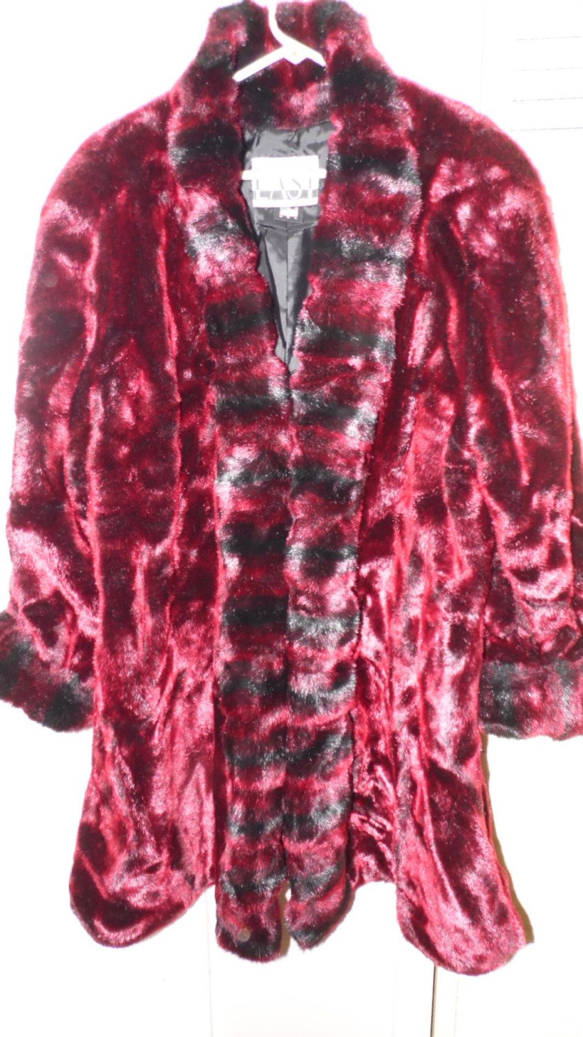 da8dd22293 Boulevard East faux fur Coat Black And Red Mix Size L by FabulousFinds1 on  Etsy